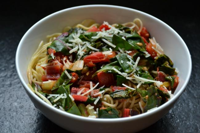 Angel Hair Pasta with Rainbow Chard