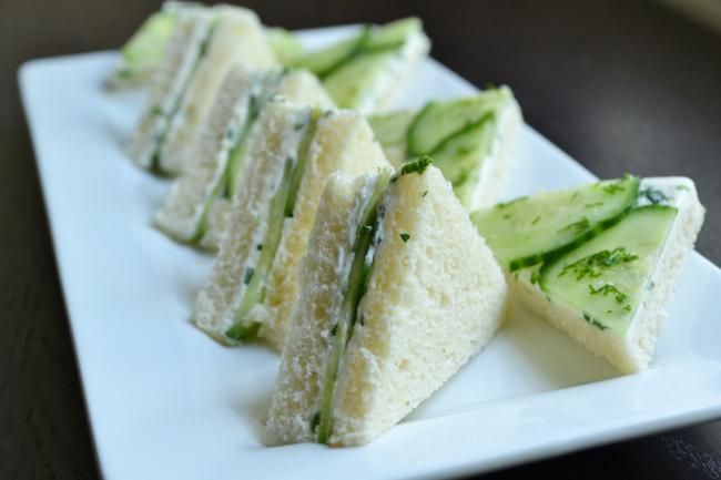 Chive Cream Cheese and Cucumber Tea Sandwiches