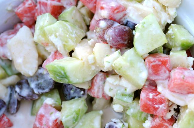 Cucumber, Asian Pear, and Watermelon Salad with Ricotta Salata
