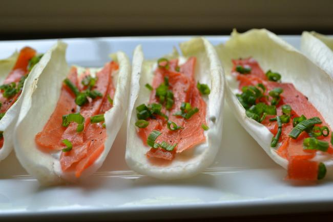 Smoked Salmon on Belgian Endive with Crème Fraîche & Chives
